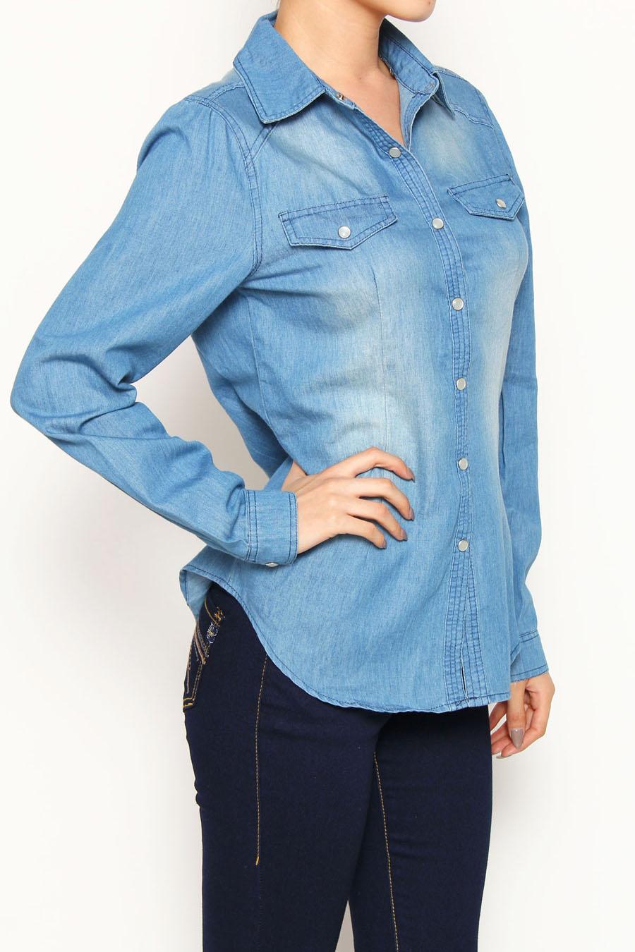 2687b21e92d0 Denim Chambray Shirt Plus Size | Saddha