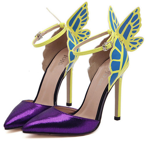 85e42860c Purple Europe and the United States Sophia vampire diaries butterfly wings  patent leather women with pointy