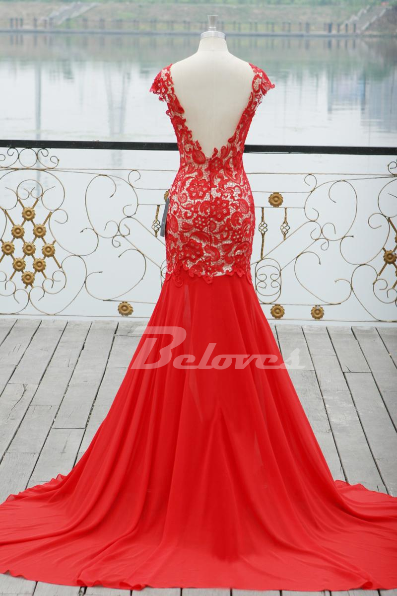 Red back open prom dresses video