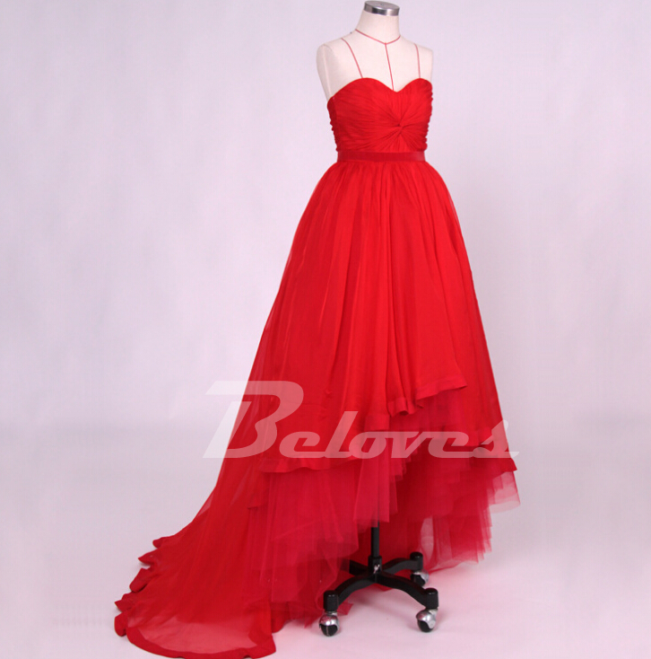 Red Tulle Sweetheart Ball Gown Prom Dress With High Low Skirt ...