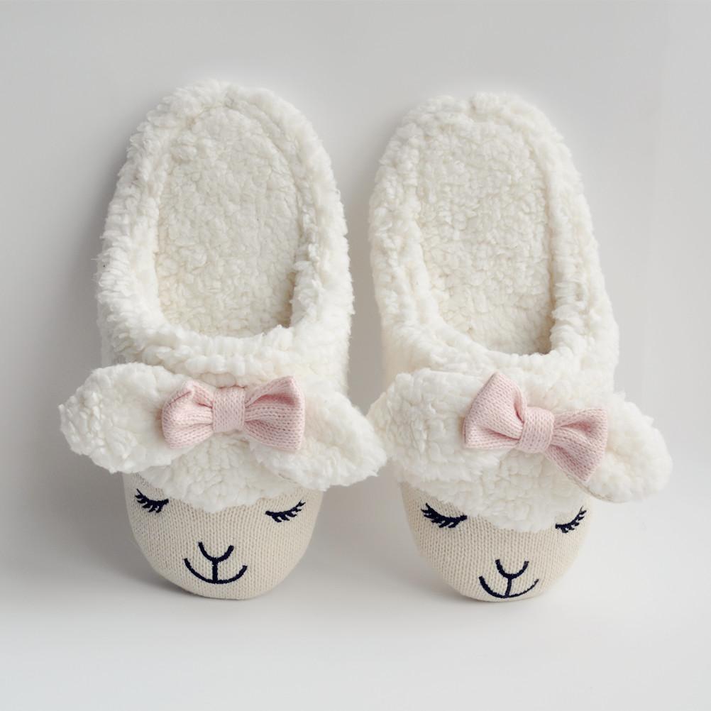 2b48b334d4a Women s Bowtie Sheep Shape Faux Fur White Slippers S101402 - Thumbnail ...