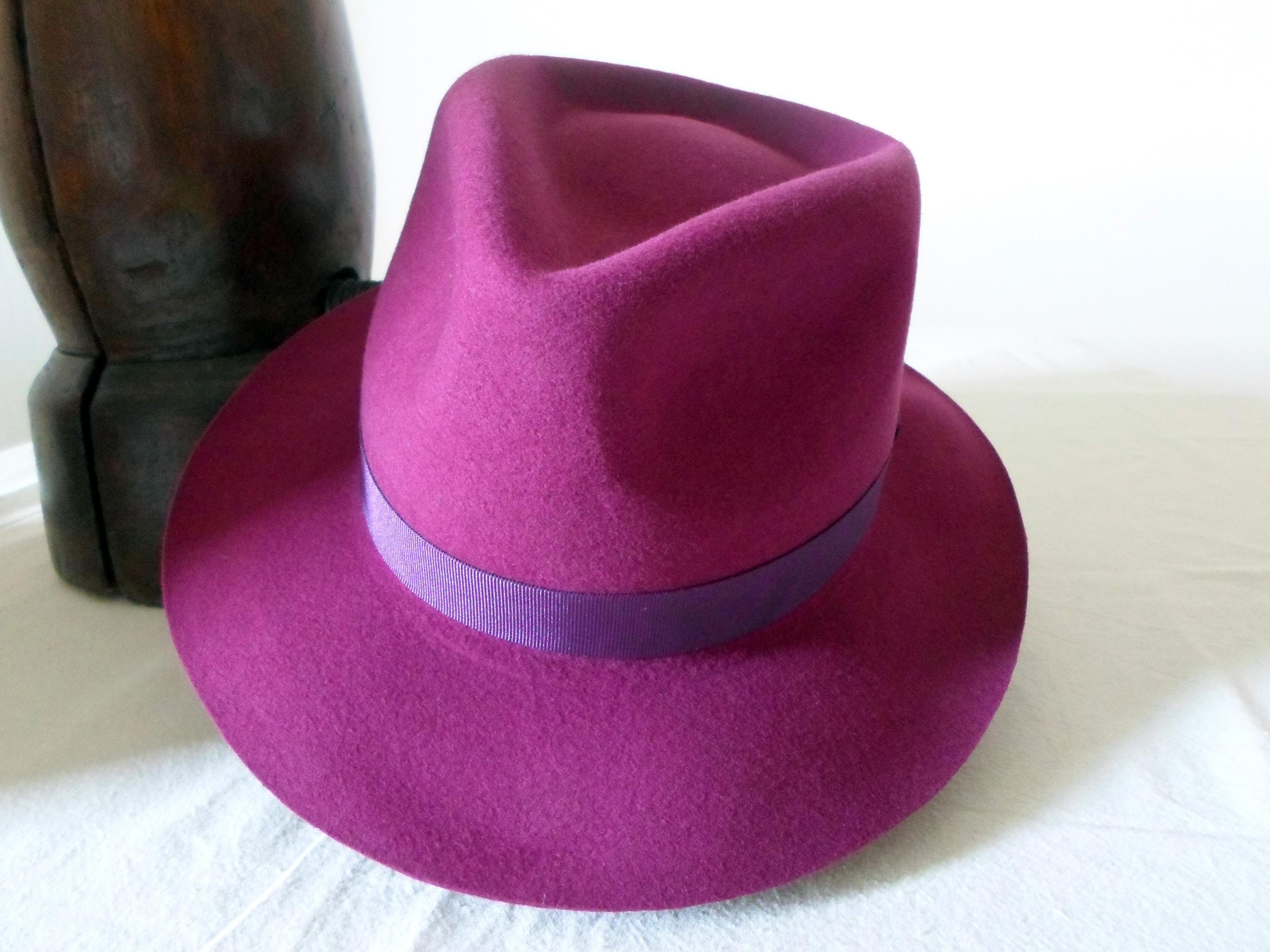 Burgundy Wine Pink Wool Felt Fedora - Wide Brim Merino Wool Felt ... e856a625b40