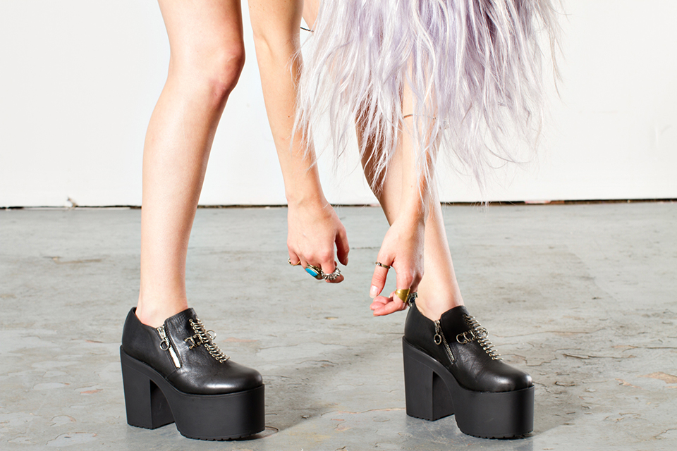 2852a15aa1a2 UNIF Grail Black Leather Platform Boots Shoes on Storenvy