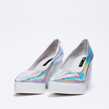 Miista Ossi Iridescent Holographic Snake Cinderella Heels  Leather Shoes