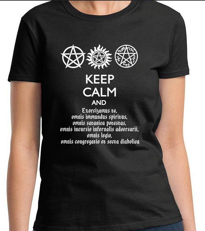 SUPERNATURAL KEEP CALM And Speak Latin Women's Men's Kid's Sizes T-Shirt  Dean Winchester Sam Winchester from This Charming Fan