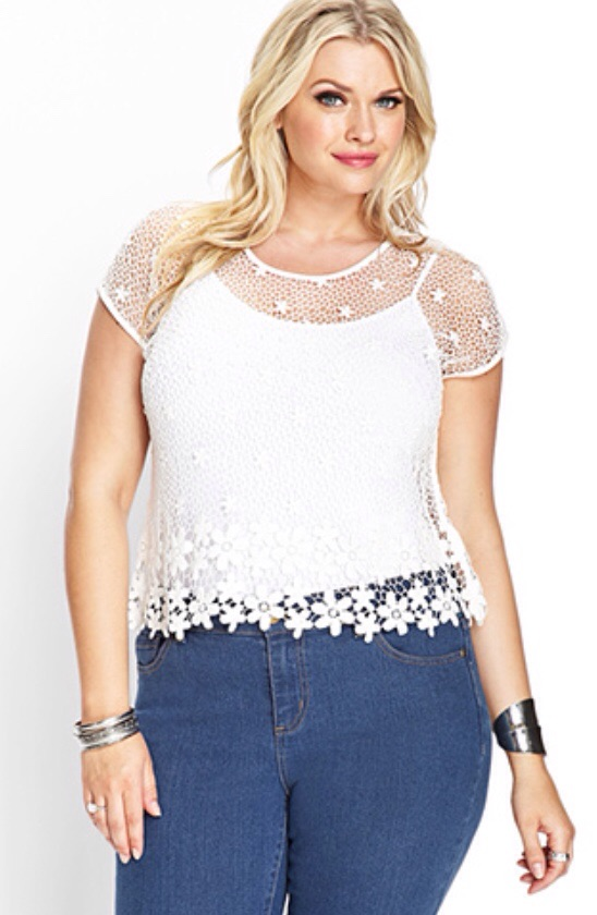 Forever 21 Plus Size 2x3x Sheer Floral Crochet Top On Storenvy