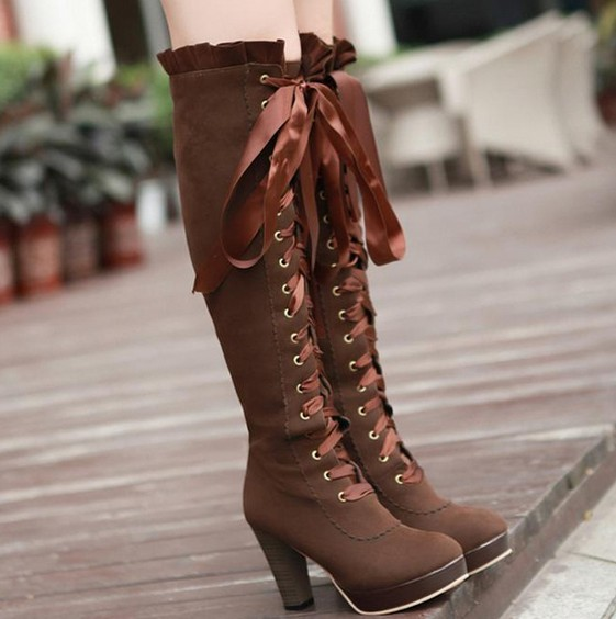 594c7d137a98 Women fashion sexy bowknot lace high-heeled boots - Thumbnail 1 ...