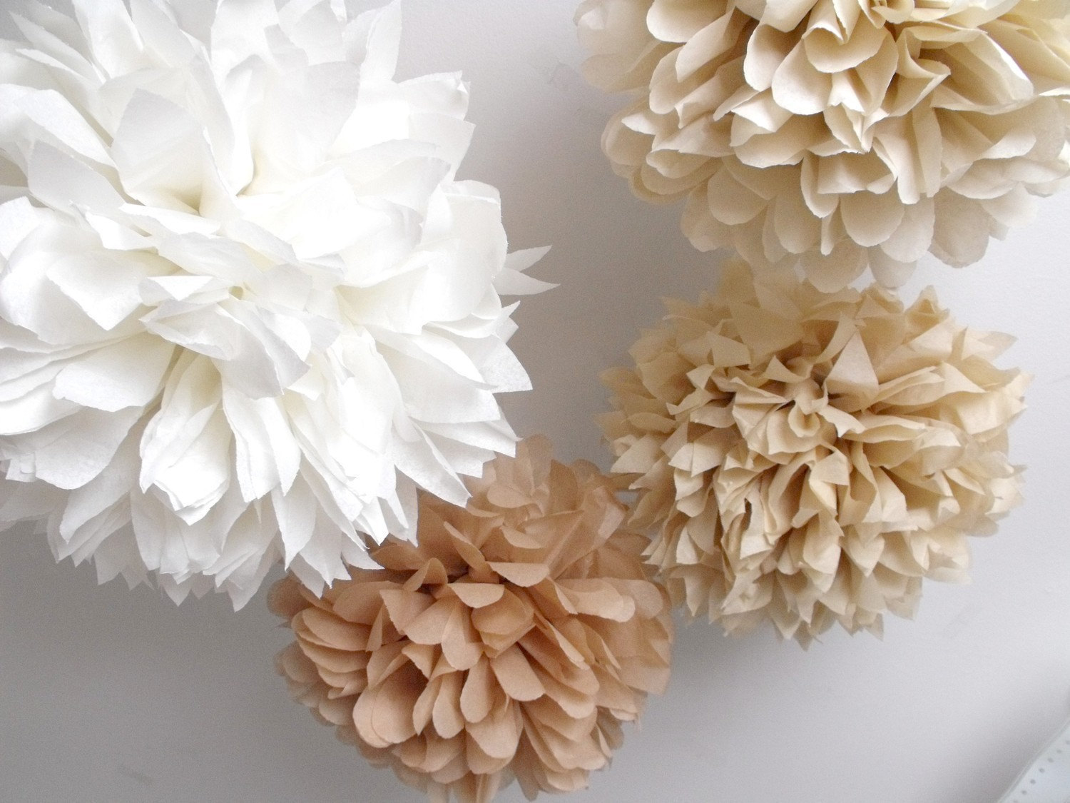 10 Rustic Shabby Chic Neutral Pompoms On Storenvy