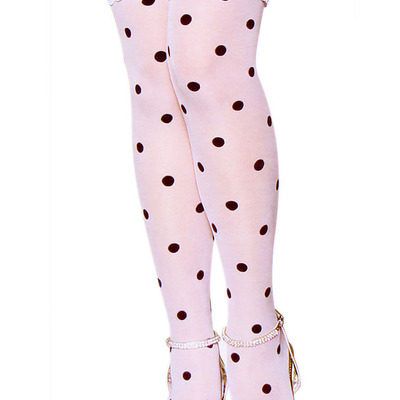 0038dc30fe7 White black polka dot lace sheer otk socks long over the knee stockings  cult party kei