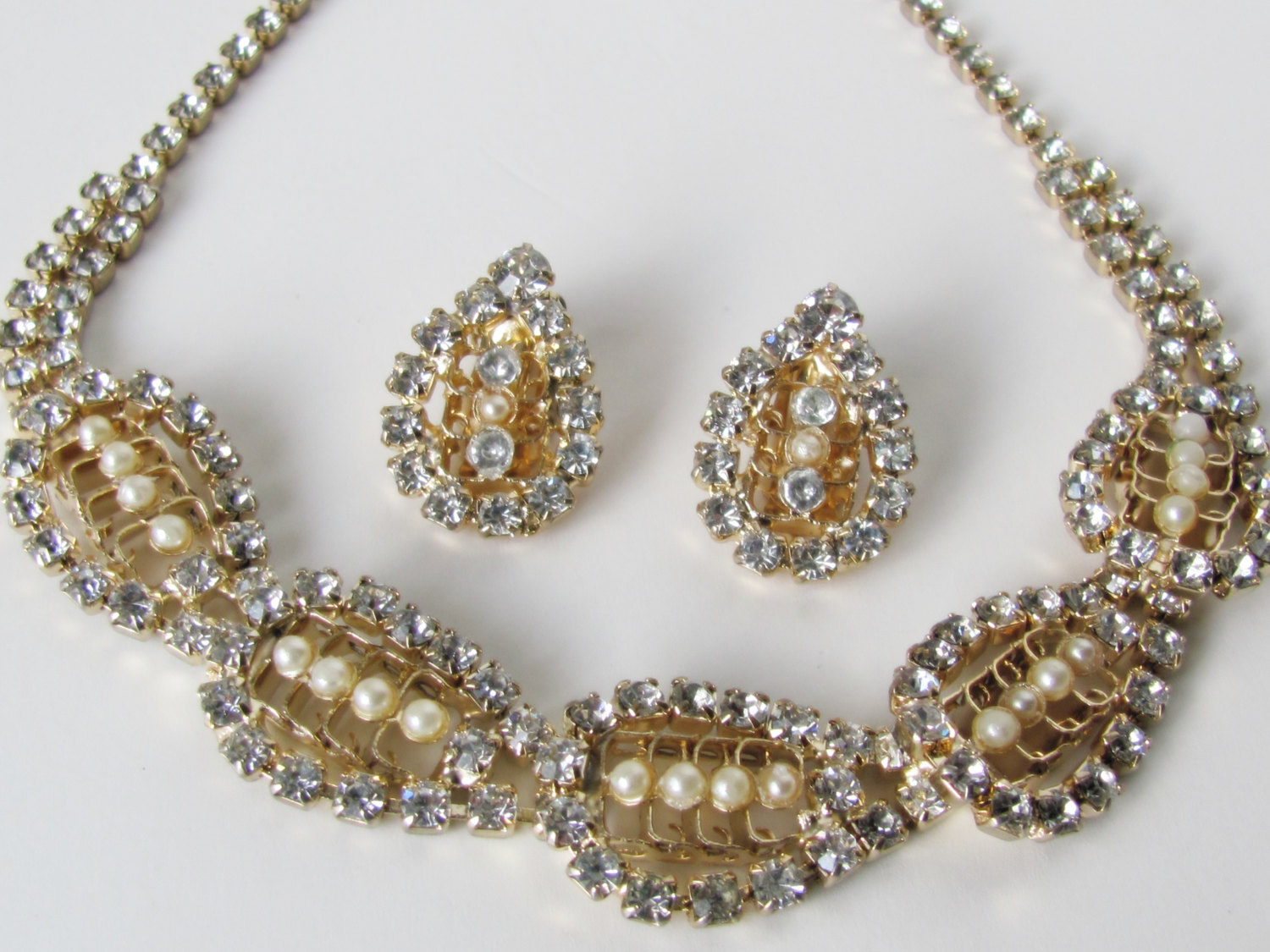 Vintage Bridal Set Vintage Jewelry Vintage Necklace Vintage Earrings Antique  Jewelry Rhinestone Jewelry Set Bridal Jewelry