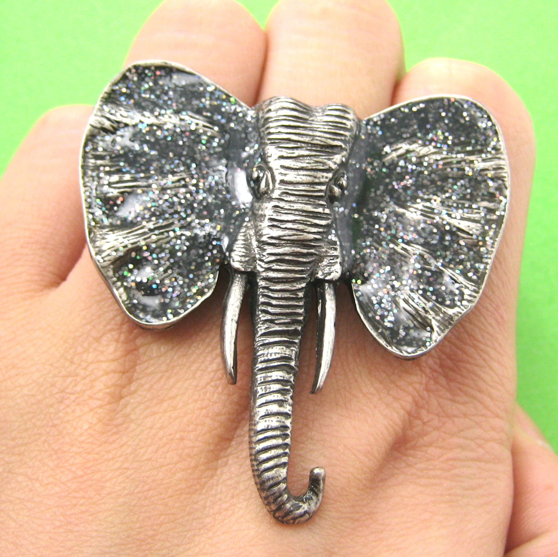 Adjustable Elephant Animal Ring In Silver With Black