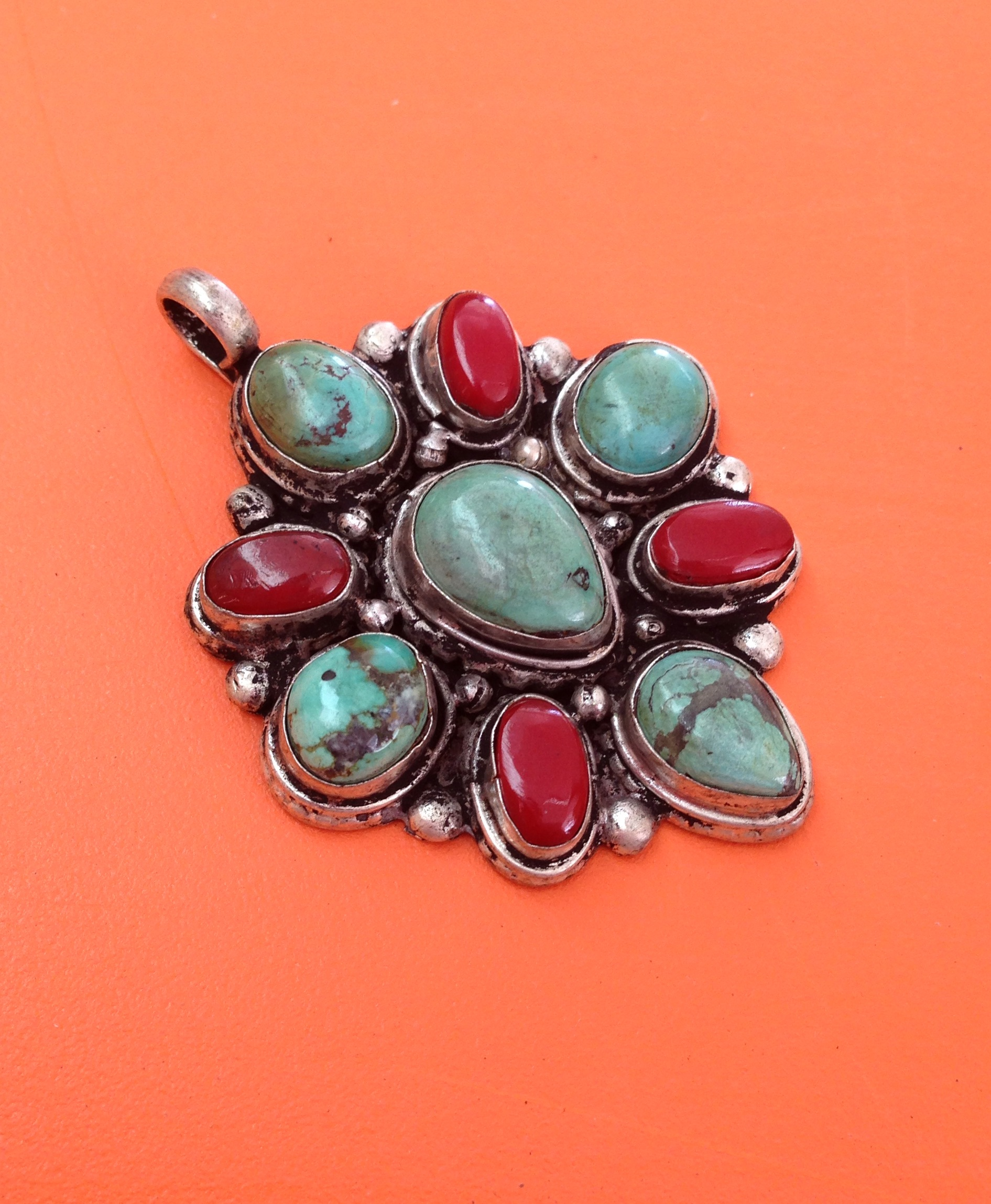 69a633698 Beautiful Tibetan coral and turquoise pendant on Storenvy