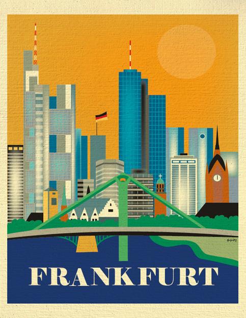 frankfurt gremany skyline 11 x 14 destination travel wall art for home gift office dorm. Black Bedroom Furniture Sets. Home Design Ideas