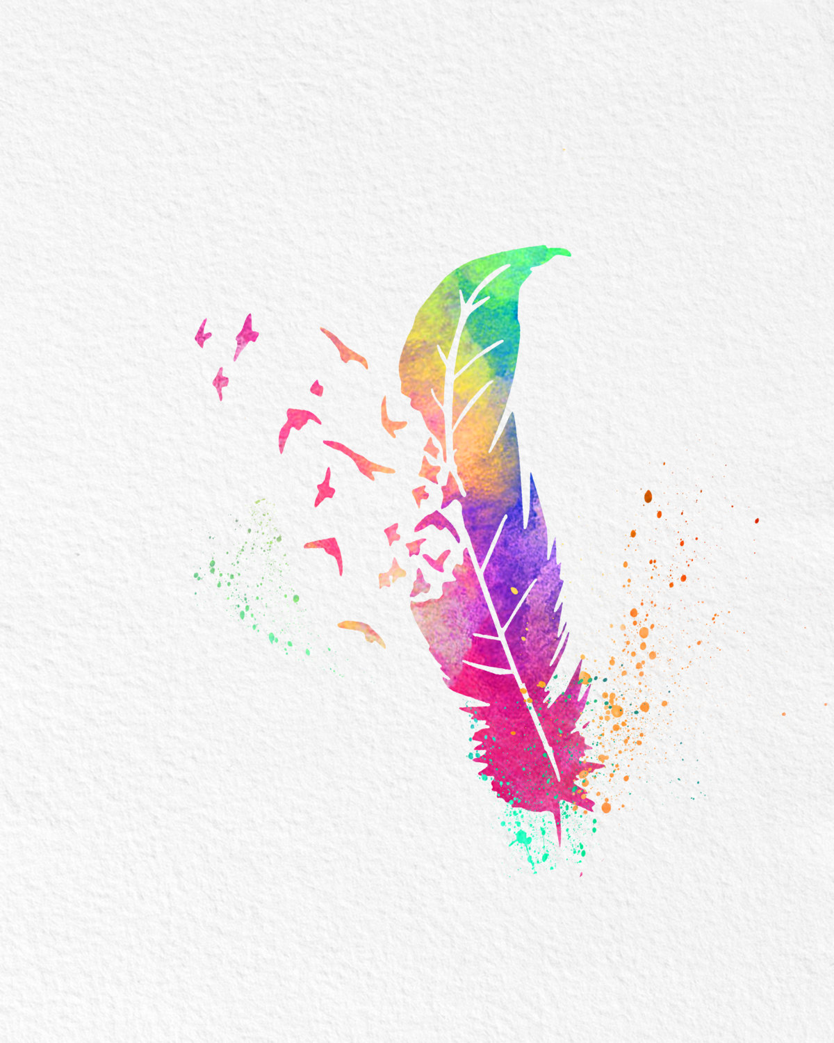 How To Design Your Own Home Online Free Watercolor Art Feather Into Birds Gift Modern 8x10 Wall