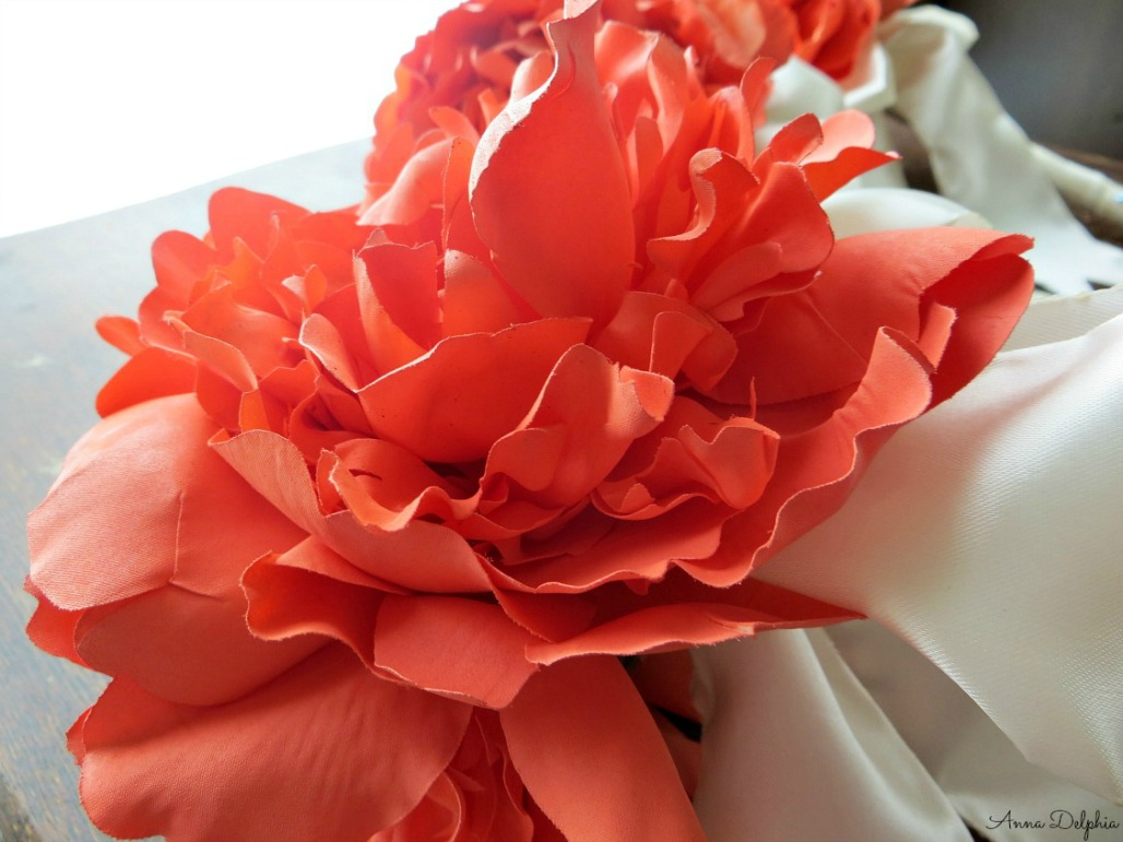 Small Coral Peony Bridal Bouquet Silk Flower Arrangement