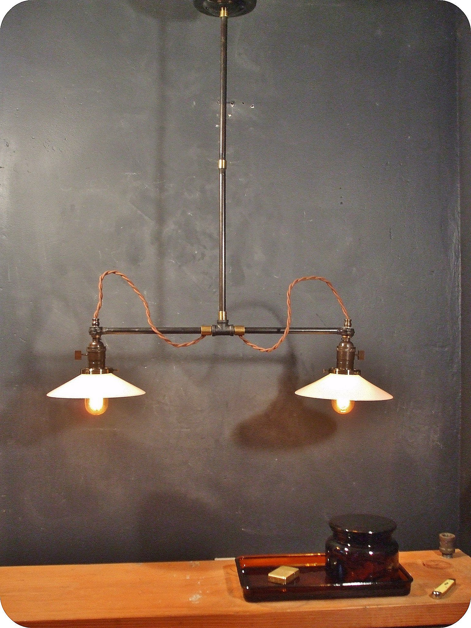 Vintage industrial double shade ceiling sconce machine age flat dscf2557small arubaitofo Gallery