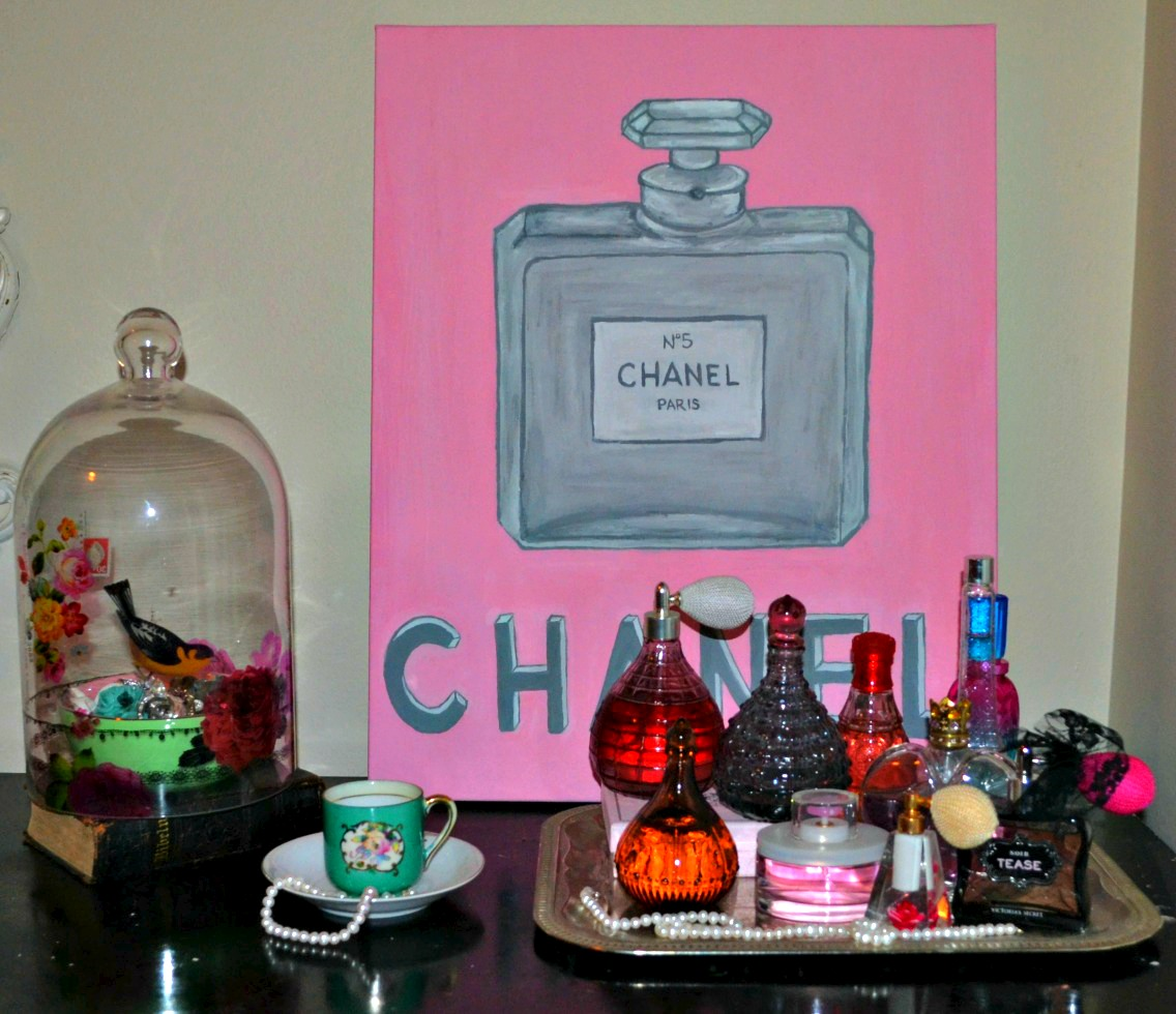 Original Hand Painted Vintage Chanel Perfume Bottle