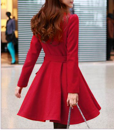 Red / Black wool women coat women dress coat Apring Autumn ...