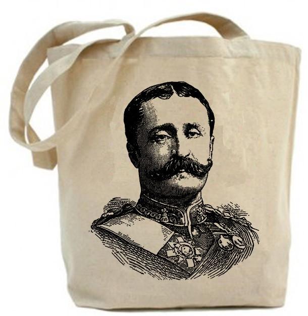 726418e40 Eco friendly ... Military Mustache Man... Canvas tote bag ...