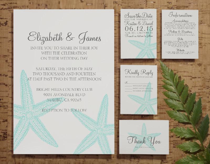 printable simple starfish wedding invitations set suite invites