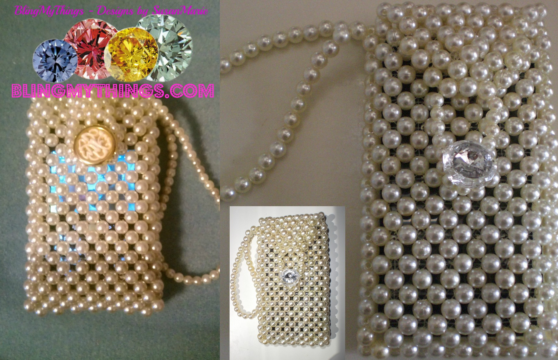 Acrylic Pearl Beaded Cell Phone Bag With Wristlet Strap Handmade On Storenvy