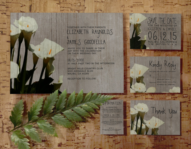Printable Rustic Calla Lily Wedding Invitations Set Suite Invites Save The Date RSVP Thank You Cards Info Response Cards Digital PDF Printed