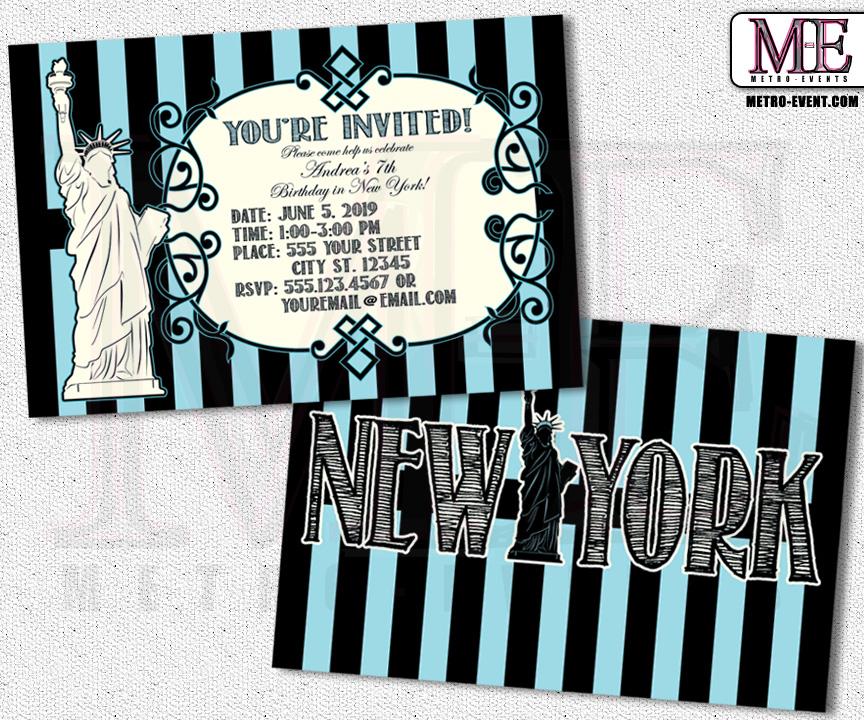 New York Invitations, New York Party, New York Birthday