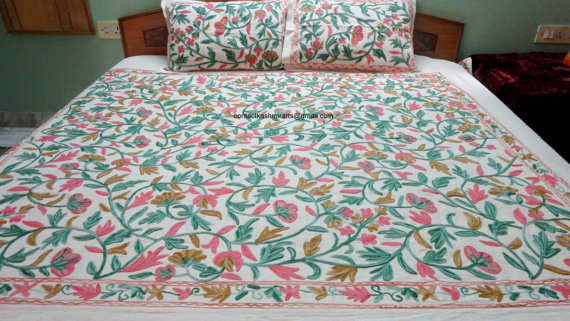 Bedspread Set Pink Green Brown White Embroidered Duvet Bed Cover