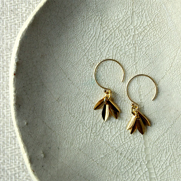 Gold Lotus Earrings Flower Fringe Zen Yoga Om Petal Purity New