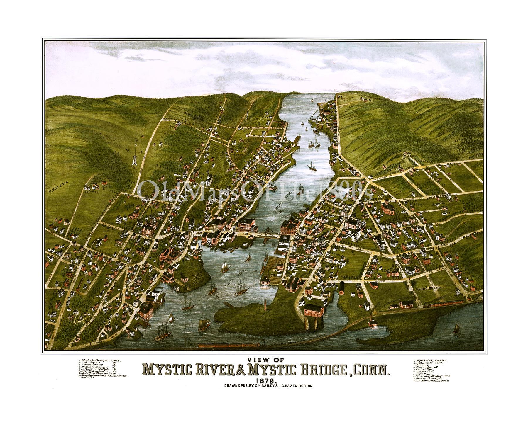Mystic River CT Bridge In 1879