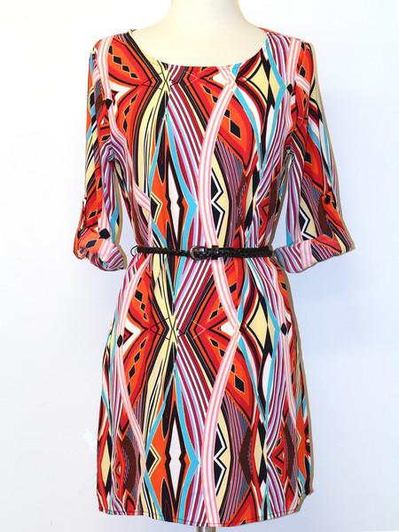 ae0ac7e5435 ... Multi lines print satin dress with braided belt - Thumbnail 2 ...