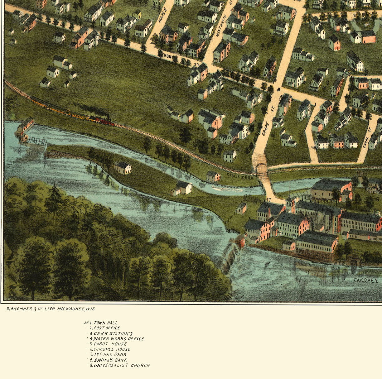 Chicopee MA In Birds Eye View Map Aerial Map Panorama Map - Vintage milwaukee map