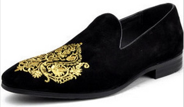 HANDMADE MEN BLACK VELVET LOAFER EMBROIDERED SLIPPERS WITH LEATHER SOLE