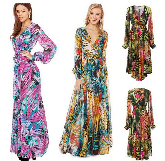 6a8c6a17398b Chiffon V neck Tropical Flower Print Temperament Long Maxi Dress ...