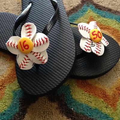 94d2f531e354 Baseball or Softball Flower Flip Flops - includes flip flops · Paper ...