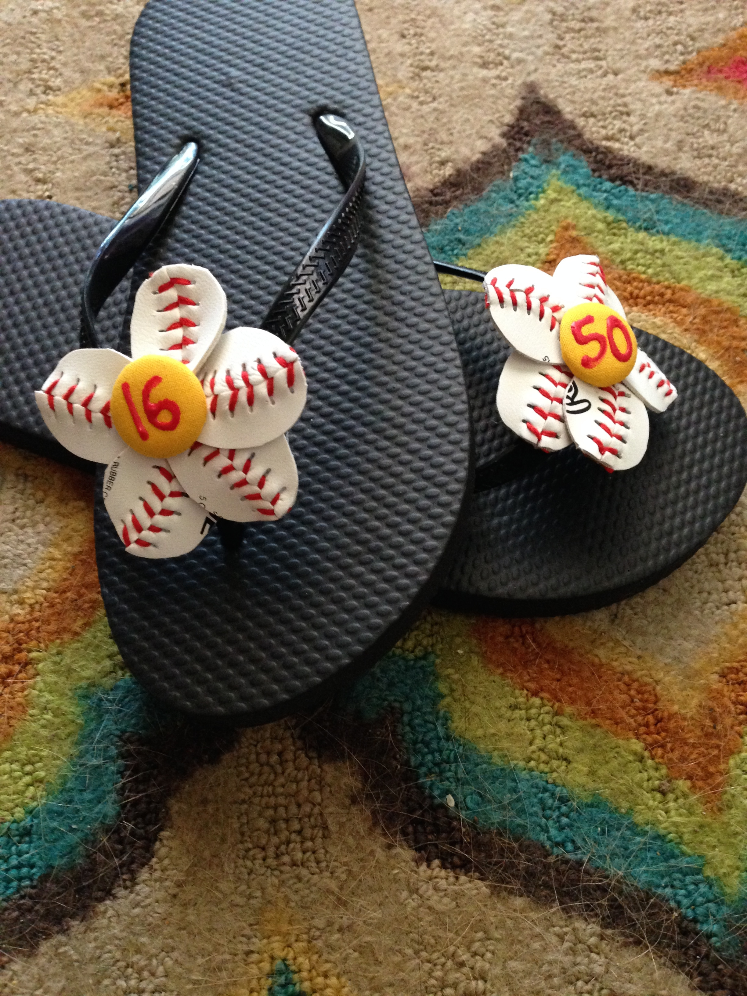 8cb041098 Custom Button Baseball or Softball Flower Flip Flops