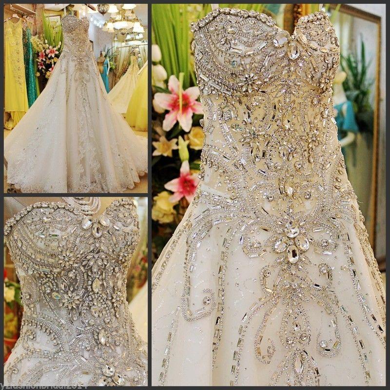 YZ Beads Crystal Sexy Diamond Wedding Dresses NMXX · YZ ...
