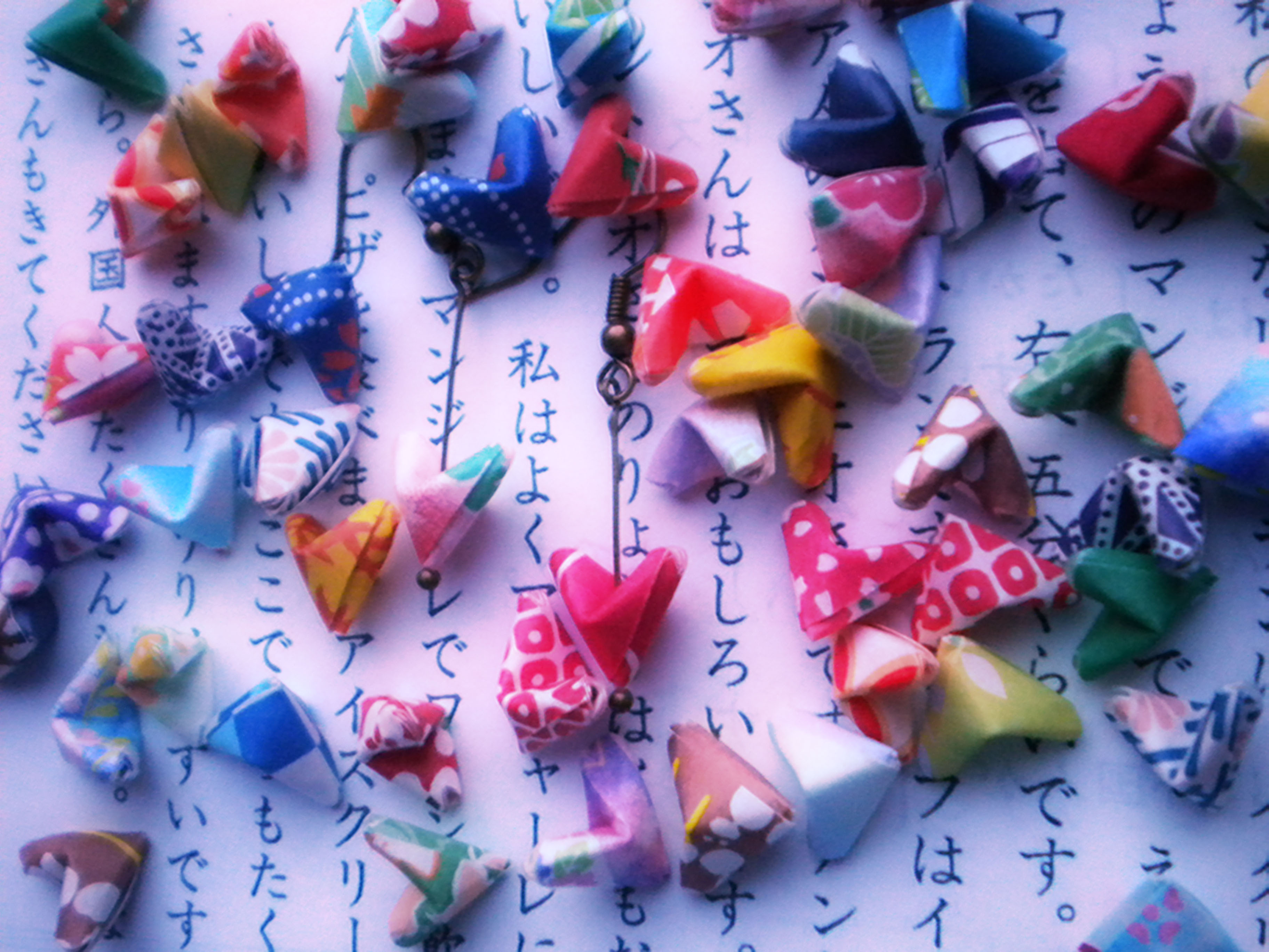 Origami Paper Hearts Earrings - Lucky Hearts - Japanese ... - photo#17