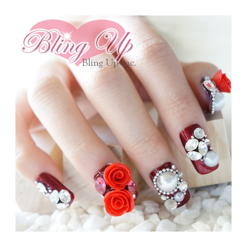 Ruby Red Rose 3d Bling Nail Art With Swarovski Crystals And Pearls