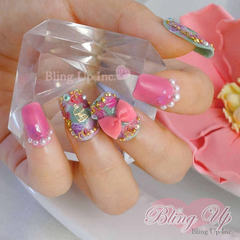 Soft Grunge Pastel Goth Rose Garden 3D Nail Art with Pearls, Crosses ...