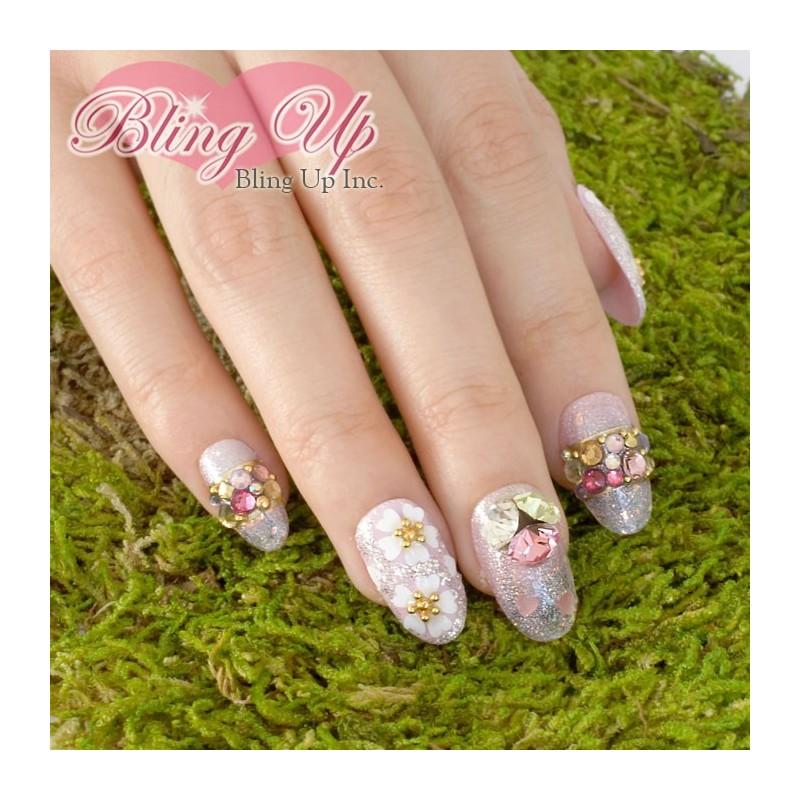 Shimmer Pink Japanese Sakura Cherry Blossom 3D Bling Nail Art with ...