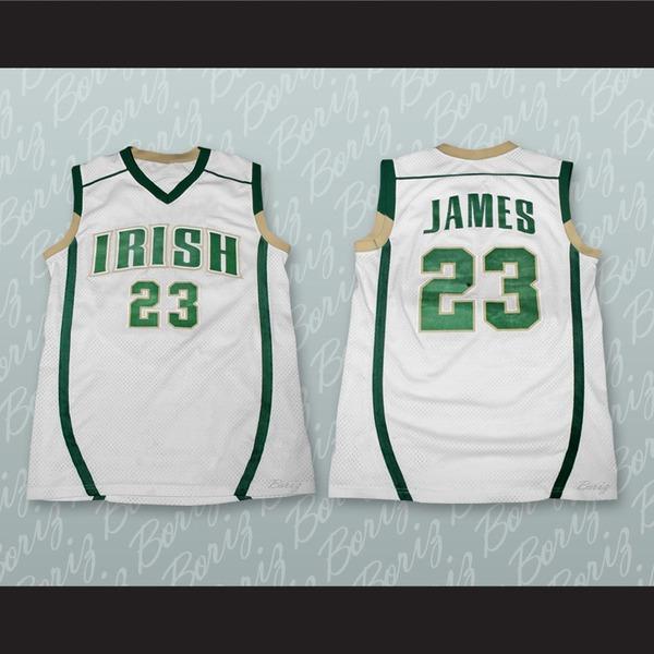 newest e04db 4cbbc Lebron James Fighting Irish High School White Basketball Jersey Stitch Sewn  from acbestseller