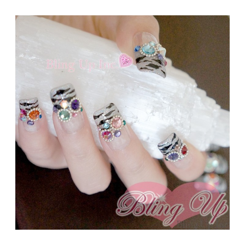 Bling Up Inc Zebra Print Colorful Nail Art With Swarovski