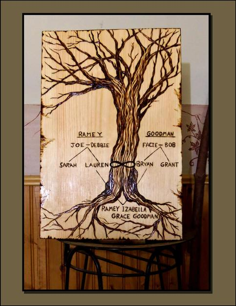 Family Tree Art Wood Burned Art Pyrography Wine Art Bar