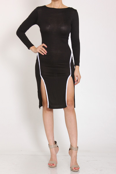 Black Double Thigh Slit Dress On Storenvy
