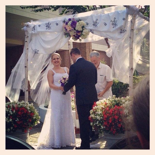 4 White Birch Wedding Chuppah Stands
