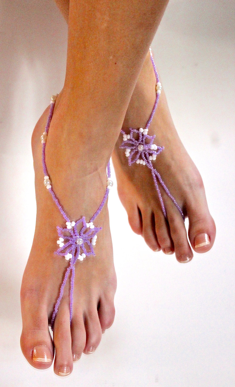 73d3359b1d23 Lilac Violet Light Purple Flower Pearls Barefoot Sandals Beach Wedding Shoes