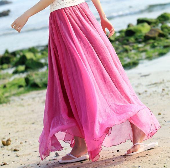 021c61da1a Woman Maxi Chiffon Beach skirt, Royal Blue, Simon Pink, Jade Green ...