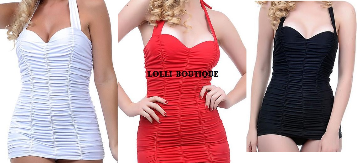 d272250fa77e Sexy vintage style halter pin up swimsuit 3 colors Sizes M-3XL petite and  plus size from Lolli Fashion Boutique