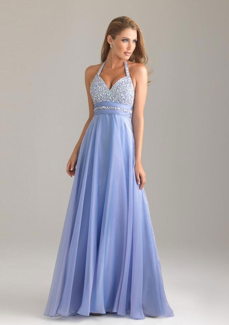 A-line Floor-Length Halter Backless Sleeveless Beading Chiffon Prom ...